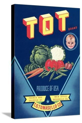 Crate Label for Tot Vegetables--Stretched Canvas Print