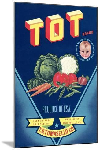 Crate Label for Tot Vegetables--Mounted Art Print