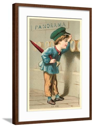 Boy Looking Through Port Holes--Framed Art Print