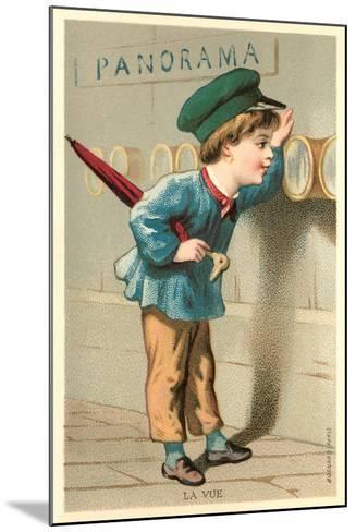 Boy Looking Through Port Holes--Mounted Art Print