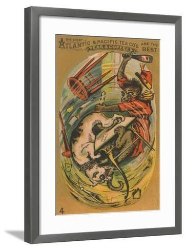 Dog and Monkey Fight--Framed Art Print