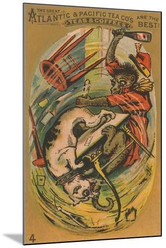 Dog and Monkey Fight--Mounted Art Print