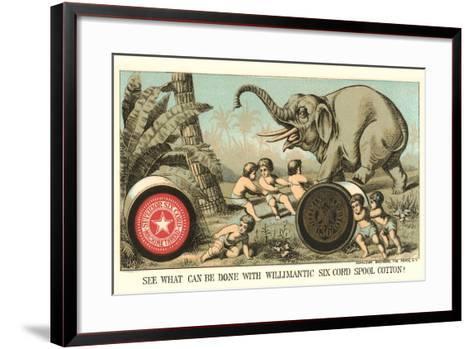 Elephant Pulling over Column--Framed Art Print