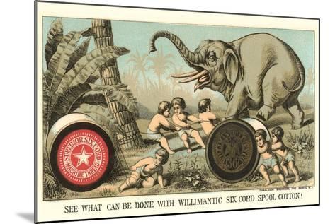 Elephant Pulling over Column--Mounted Art Print