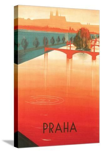Prague Travel Poster--Stretched Canvas Print