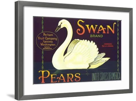 Swan Pear Label--Framed Art Print