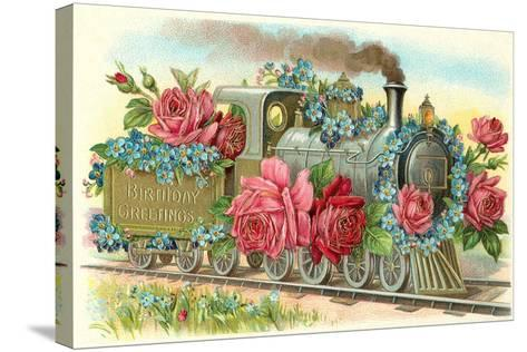 Birthday Greetings, Rose Train--Stretched Canvas Print
