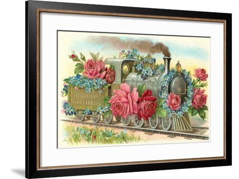 Birthday Greetings, Rose Train--Framed Art Print