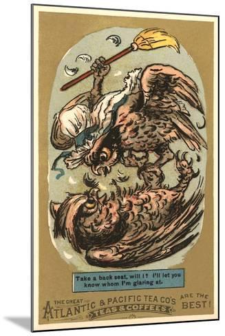 Fighting Owls--Mounted Art Print