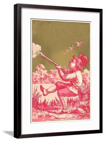 Kicked, Boy Shooting Birds--Framed Art Print
