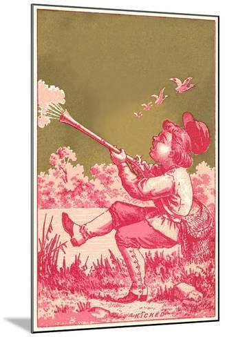 Kicked, Boy Shooting Birds--Mounted Art Print