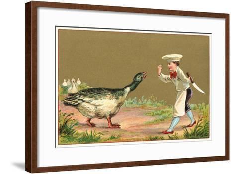 Little Chef Luring Goose--Framed Art Print