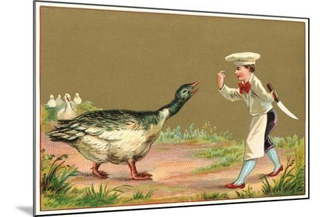Little Chef Luring Goose--Mounted Art Print