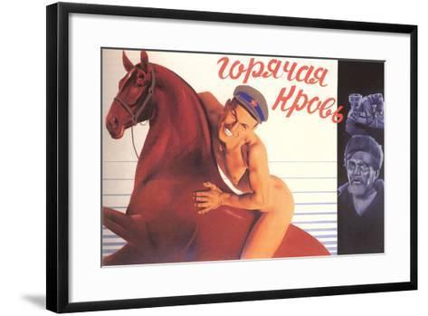 Naked Man on Horse--Framed Art Print