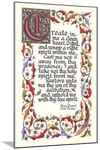 Fifty-First Psalm, King David--Mounted Art Print