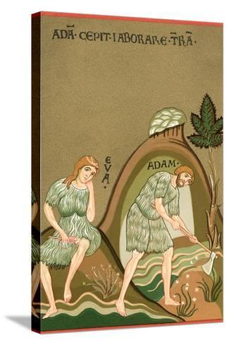Medieval Illusttration, Adam and Eve--Stretched Canvas Print