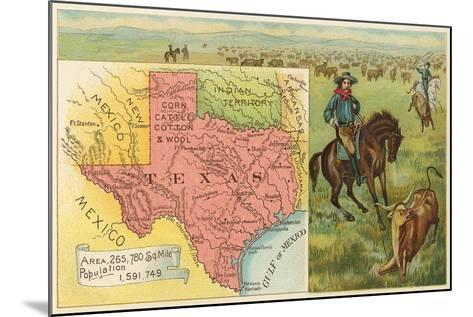 Roping Longhorn, Map--Mounted Art Print