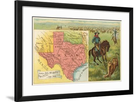 Roping Longhorn, Map--Framed Art Print