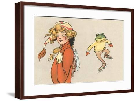 Skating Frog and Vamp--Framed Art Print