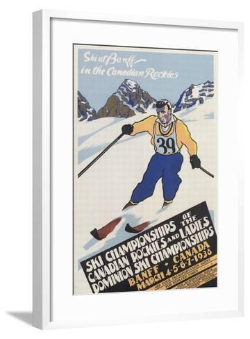 Skiing at Banff, Alberta--Framed Art Print