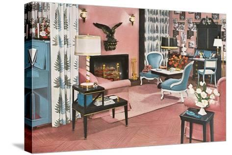 Living Room in Pink--Stretched Canvas Print