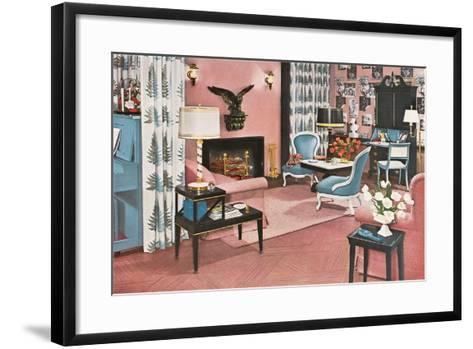 Living Room in Pink--Framed Art Print