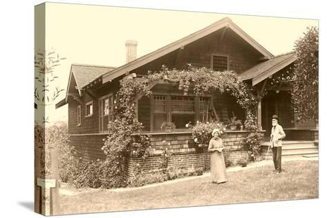 Old People with Craftsman House--Stretched Canvas Print