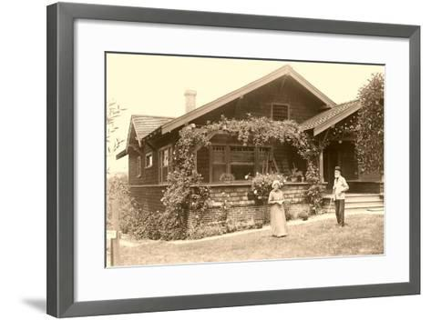 Old People with Craftsman House--Framed Art Print