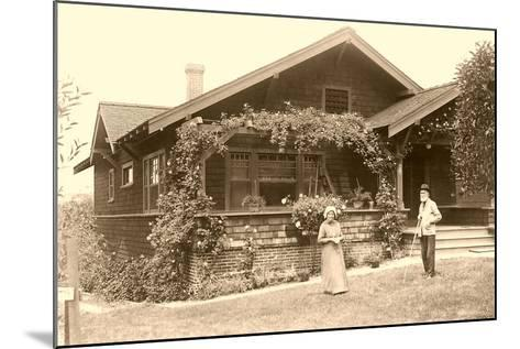 Old People with Craftsman House--Mounted Art Print
