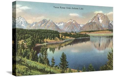 Teton Range, Jackson Lake--Stretched Canvas Print