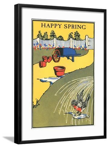 Happy Spring, Bathing Bird in Garden--Framed Art Print