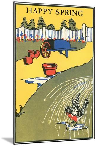 Happy Spring, Bathing Bird in Garden--Mounted Art Print
