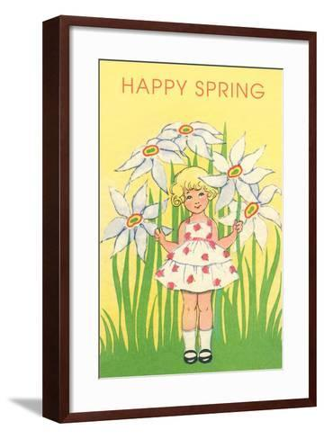 Happy Spring, Cute Little Girl with Big White Flowers--Framed Art Print