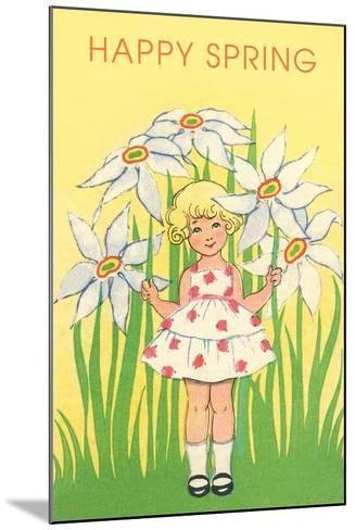 Happy Spring, Cute Little Girl with Big White Flowers--Mounted Art Print