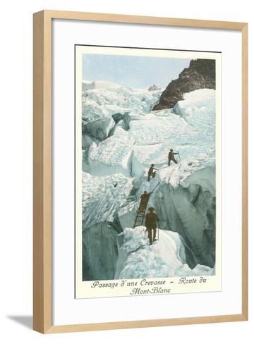Crossing a Crevasse, Mont-Blanc Route--Framed Art Print