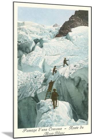 Crossing a Crevasse, Mont-Blanc Route--Mounted Art Print