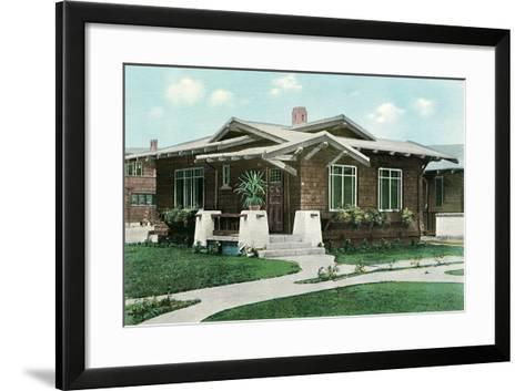 Craftsman House with Pillars--Framed Art Print