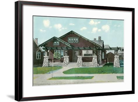 Craftsman House with Rock Pillars--Framed Art Print