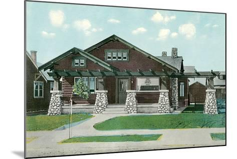 Craftsman House with Rock Pillars--Mounted Art Print