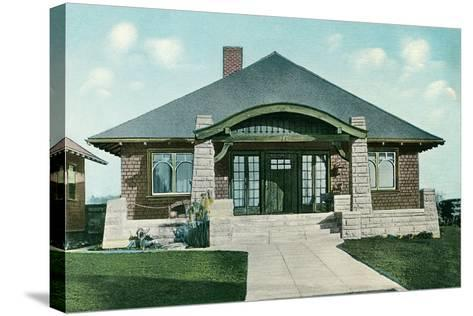 Craftsman House with Rock Pillars--Stretched Canvas Print