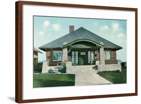 Craftsman House with Rock Pillars--Framed Art Print