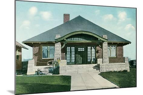 Craftsman House with Rock Pillars--Mounted Art Print