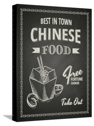 Chinese Food Poster on Black Chalkboard-hoverfly-Stretched Canvas Print
