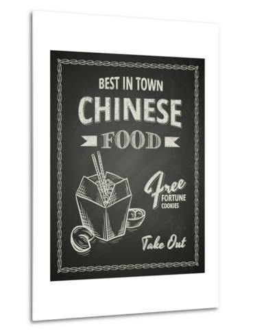 Chinese Food Poster on Black Chalkboard-hoverfly-Metal Print