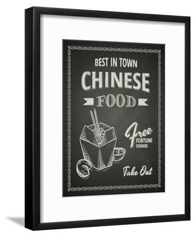 Chinese Food Poster on Black Chalkboard-hoverfly-Framed Art Print