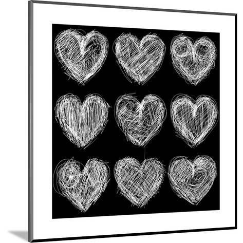 Hearts Chalkboard, Love Background and Texture-homobibens-Mounted Art Print