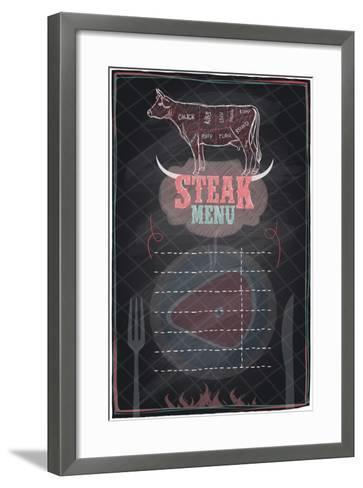 Steak Menu Chalkboard Design with Cow Steak Diagram-Selenka-Framed Art Print