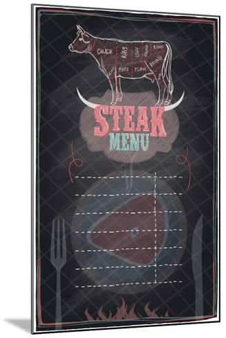 Steak Menu Chalkboard Design with Cow Steak Diagram-Selenka-Mounted Art Print
