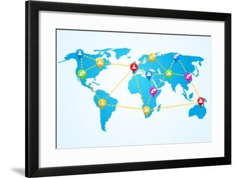 Social Connection Map with Pin Icons-ra2studio-Framed Art Print