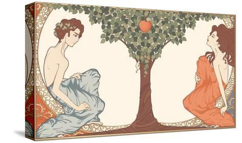 Adam and Eve, Art-Nouveau Style-drakonova-Stretched Canvas Print
